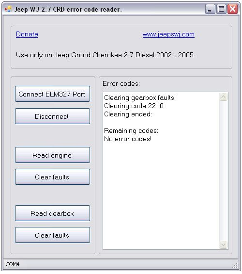 P0702 ELM327 based Jeep Grand Cherokee OBD diagnostic software
